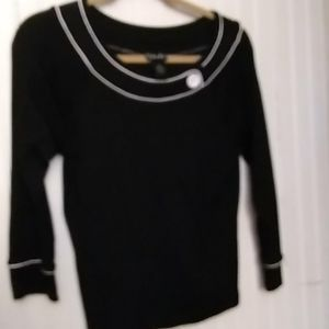 Black sweater with button neck line